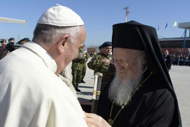 Pope Francis and Patriarch Bartholomew in Greece - April 16th, 2016. Photo credit: L'Osservatore Romano